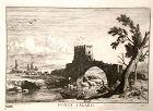 "Beautiful Etching from 18th Century ""PONTE SALARO ""12x9"""
