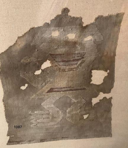 "Important Inca  textile fragment FIGURE multicolored  15x10"""
