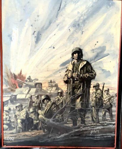 "Battle Ground,Important WW2 oil by American Artis Harry Schaare 24x18"""