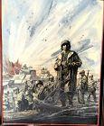 "Battle Ground,Important WW2 oil by American Artis Harry Schaare 18x24"""
