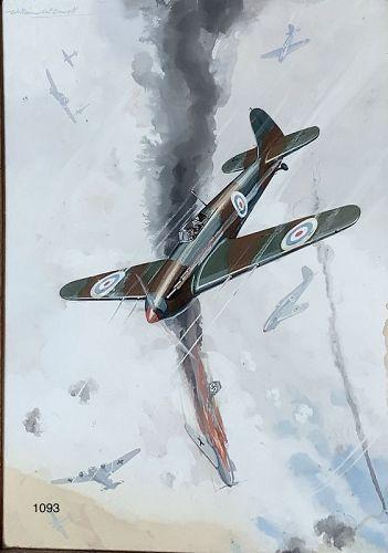 "American Artist William MCDOWELL  Dogfight Bombers,WW2 oil 15x11"""