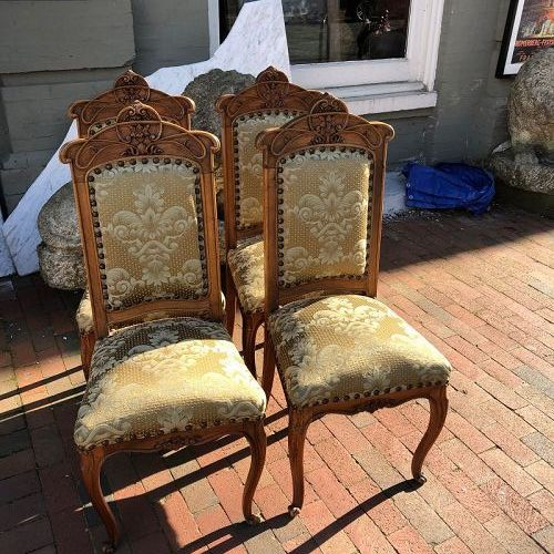 French Art Nouveau Set of Four Side Chairs Circa 1890