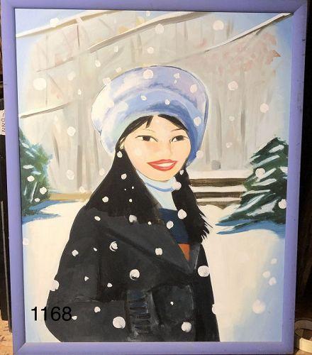 Paco Lane Portrait of Woman in Winter Oil 30x24�