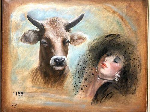 Master aitalian Artist Mario Russo Double Portrait Oil 20x24�