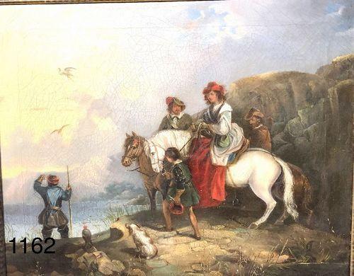 unsigned 19th century Men on Horseback o/c 24x30�