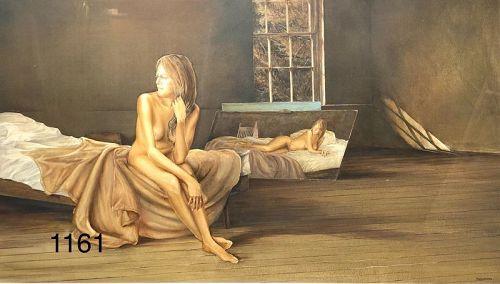 William David Hanna b.1941 Watercolor Dry brush Nude