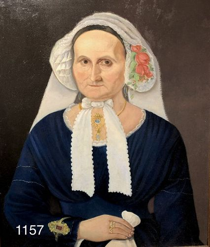 Unsigned Nineteen Century  Portrait of a Woman with vail Oil 24x22�