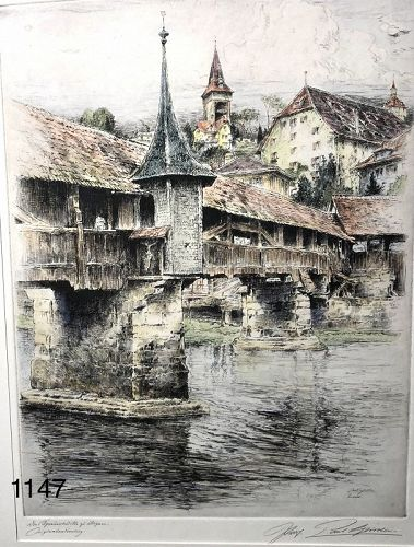 Paul GESSLER view of Lucern, color etching 12x9�