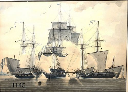 Important 1799 dated �privateers� gouache 12x17�