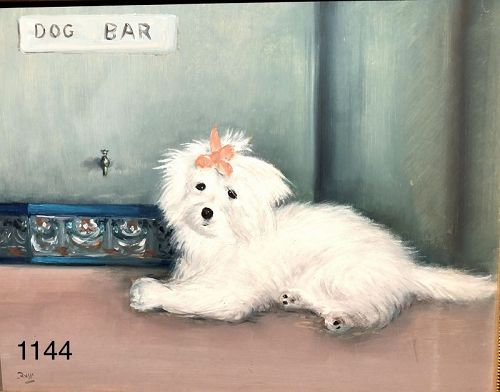 Mario RUSSO Dog Bar Oil on canvas 16x20�