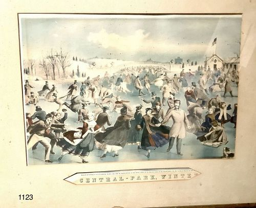 Courier and Ives central park, winter lithograph 1862