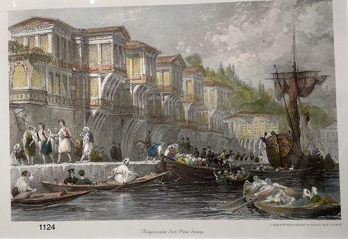 Turkish Lithograph �Harbor Scene 1600�modern print 16x20