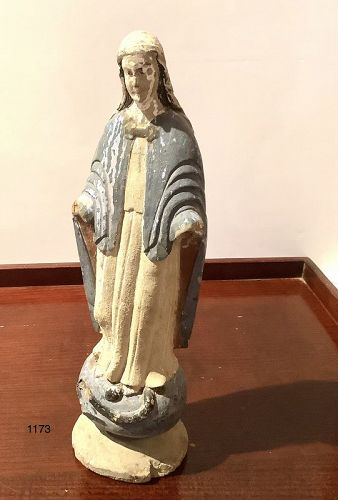 18th Century Polychrome  Sculpture of Virgin Mary,Puerto Rico