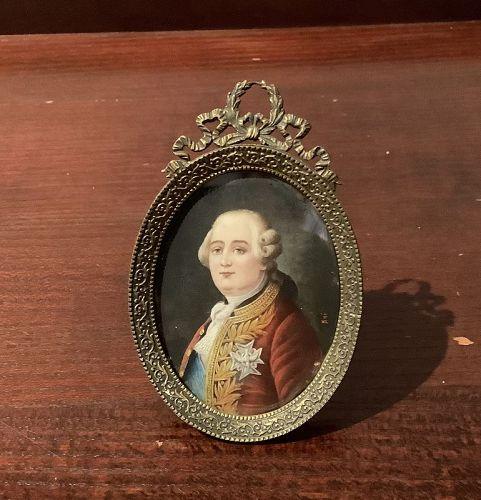 French Louis XVI Miniture Portrait GILT oval frame 5x3� watercolor