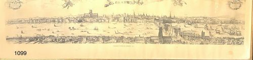 Visser�s View Of London, 1616 map lithograph illustrated 10x37�