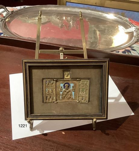 Russian Niello Enameled Folding Icon Gilded