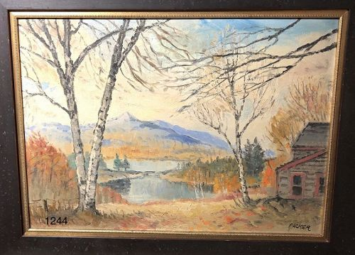 New York Artist S.Packer �Lake George� 1920s Oil  27x34�