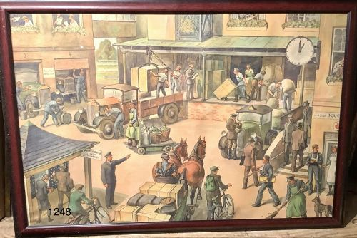 Germany 1930s period Lithograph �Modernist Workers� 27x39�