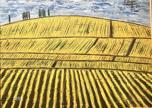 "American  Artist Stephen Krueger ""Vinyard"" Oil 27x35"""