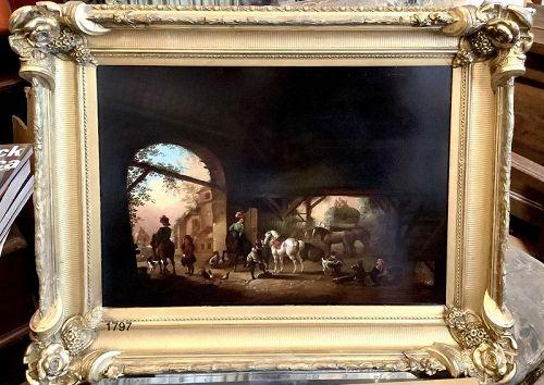 18th Century Oil on Copper Dutch Stable Scene 16x23�