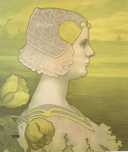 Watercolor �Portrait of Queen Wilhelmina� Holland circa 1900 25x22�