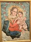 Mexican Icon Madonna Oil Painting Eighteenth Century 14x10�