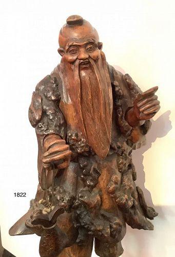 Japanese Sculpture Immortal exotic pinewood sculpture of plenty 31�