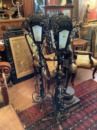 Pair of nineteenth Century Electrified Wrought Iron Lantern Lamps 50�