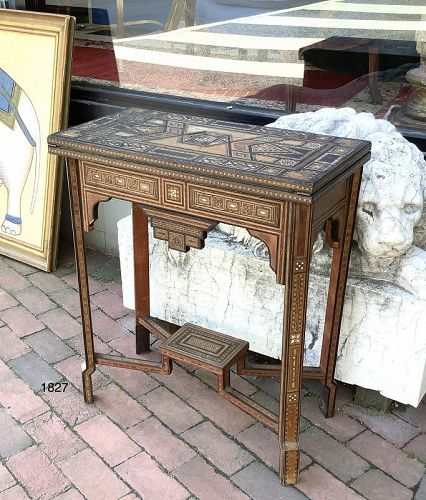 Damascus Game Table circa 1900 Mother of Pearl inlay