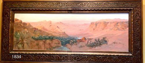 Moroccan Oil Painting lush Landscape,Arab Script Carved frame
