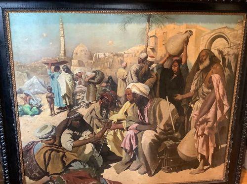 "Karl Leopold Müller,German Artist  ""The Old Souk Cairo"" 37""x51"""