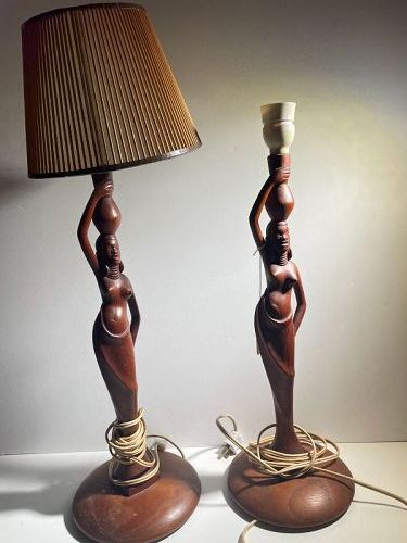 African Maasai Pair of Figurine Lamps
