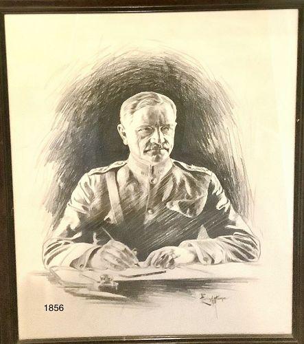 "F. Livingstone Artist Charcoal Portrait of General Pershing  29x24"""