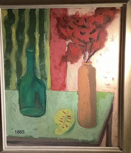 D. Chapa,Modernist Still Life with Striped Cloth Oil 24x20�circa 1950s