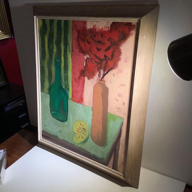 "D. Chapa,Modernist Still Life with Striped Cloth Oil 24x20""circa 1950s"