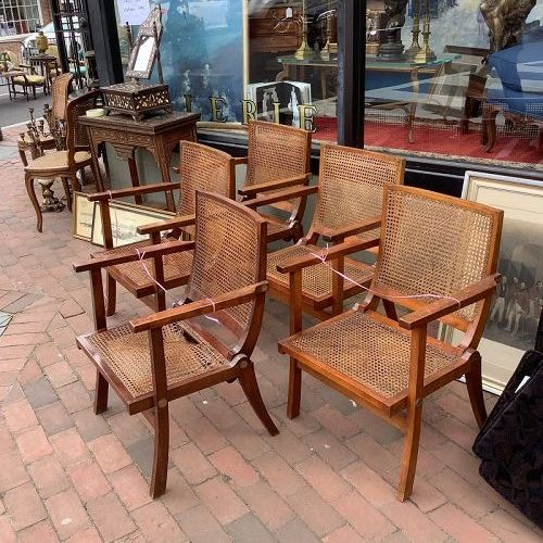 Pierre Jeanneret 1896-1967 Set of 5 Lounge Chairs Teak and Cane