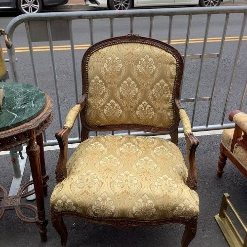 Pair of French Louis XV Fauteil Chairs carved Walnut and brocade silk