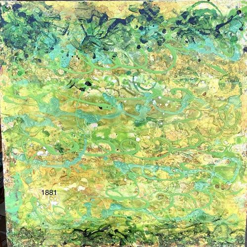 """Robin Sutliff local artist Abstraction with Encaustic 20""""x20"""""""