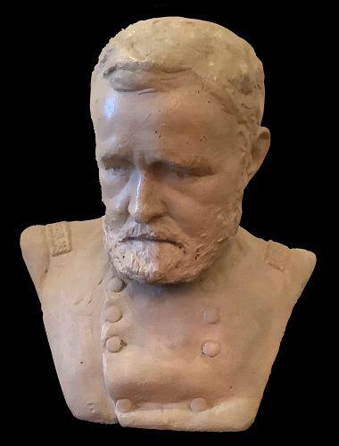 "American Artist Karl Gerhardt Bust of Ulysses S.Grant signed 1885 9"""