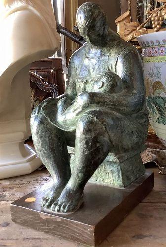 Felipe Castaneda b.1933 Mexico, Mother & Child Bronze sculpture