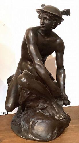 "Jean Baptiste Pigalle 1714-1785 Bronze sculpture of Mercury   23"""