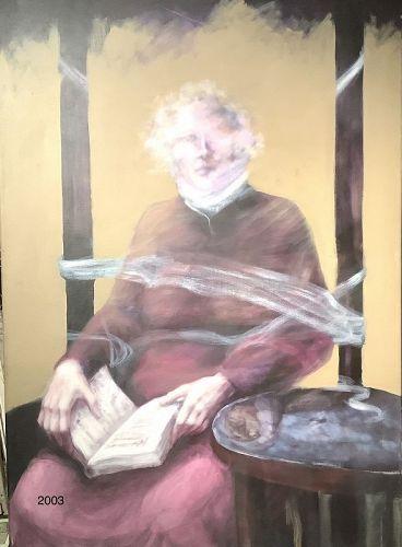 """J.L.Picchiello Italian Artist. Galileo chained,oil on canvas  48x32"""""""