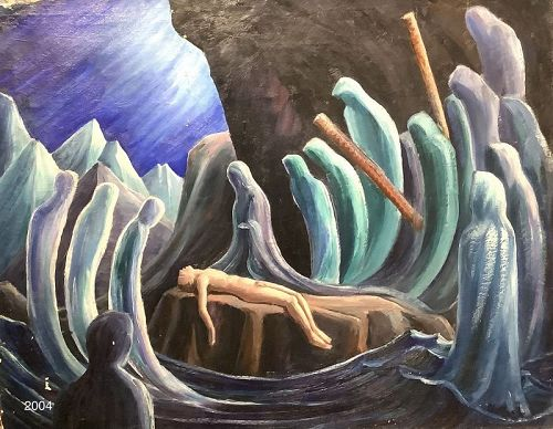 "Norman Macleish American School ""Valley of Death"" oil 27x33"""