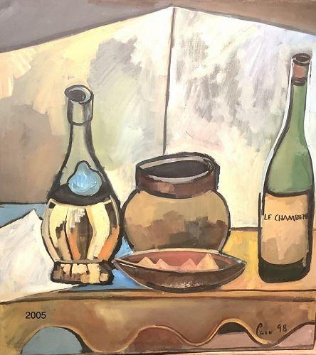 Paco Lane American Master Artist, still life with Chianti'98 Oil 30x32
