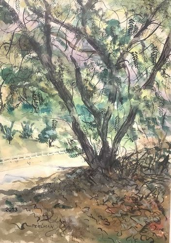 "Watercolor Landscape signed Perlman 26""x20"""