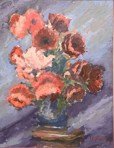 """K. Stein signed oil on paper Floral Study 14x11"""""""