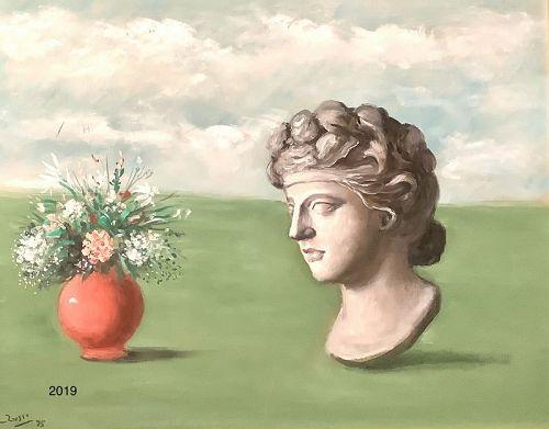 """Mario Russo Roman artist 1925-2000""""Vado Forte E Testa Di Marmo, Oil"""