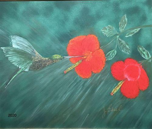 "American Artist J.Edsel ""The Hummingbird "" Oil 20x24"""