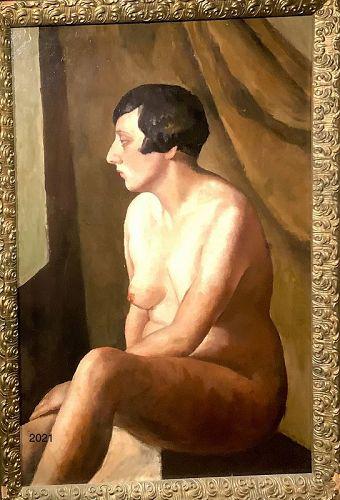 "Important French Nude Portrait ""Kiki de Montparnasse"" 1920s Oil39x27"""