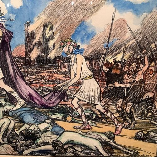 Louis Raemaekers 1869-1956 Dutch Artist ,World War I Watercolor 16x25